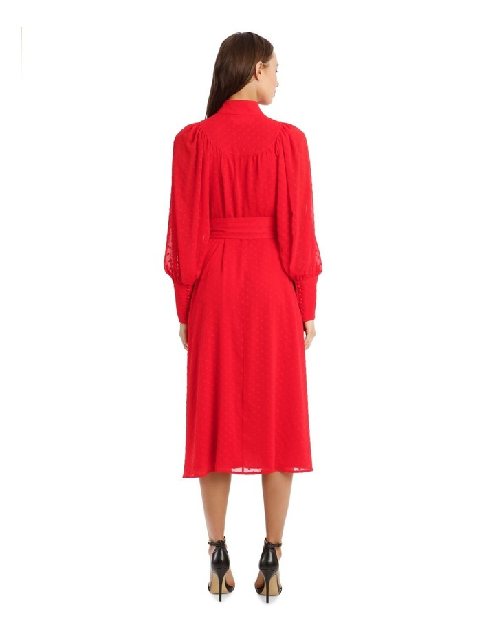 Long-Sleeve Belted Button-Up Dobby Dress image 3