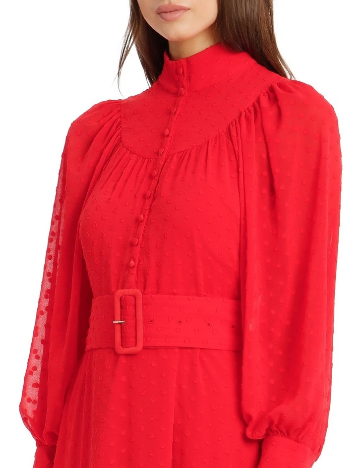 Long-Sleeve Belted Button-Up Dobby Dress image 4