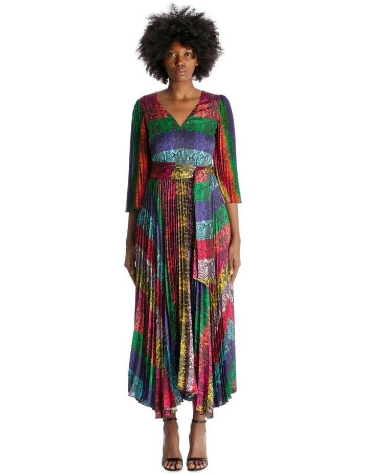 Multicolour Dress with Accordion Pleated Skirt and Sleeves image 1