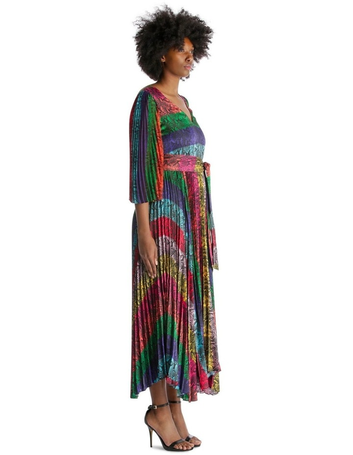 Multicolour Dress with Accordion Pleated Skirt and Sleeves image 2