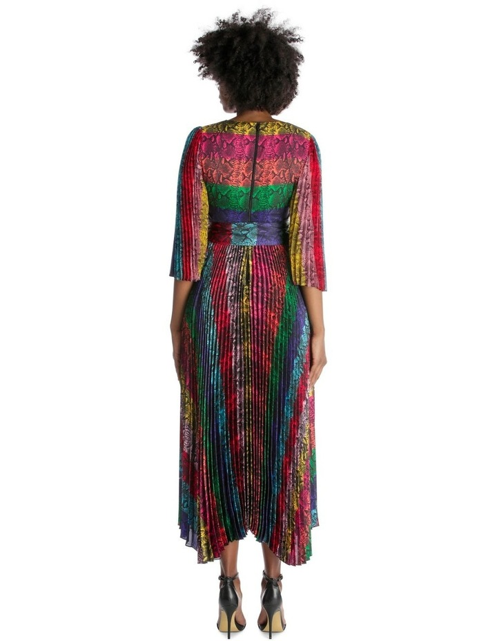 Multicolour Dress with Accordion Pleated Skirt and Sleeves image 3