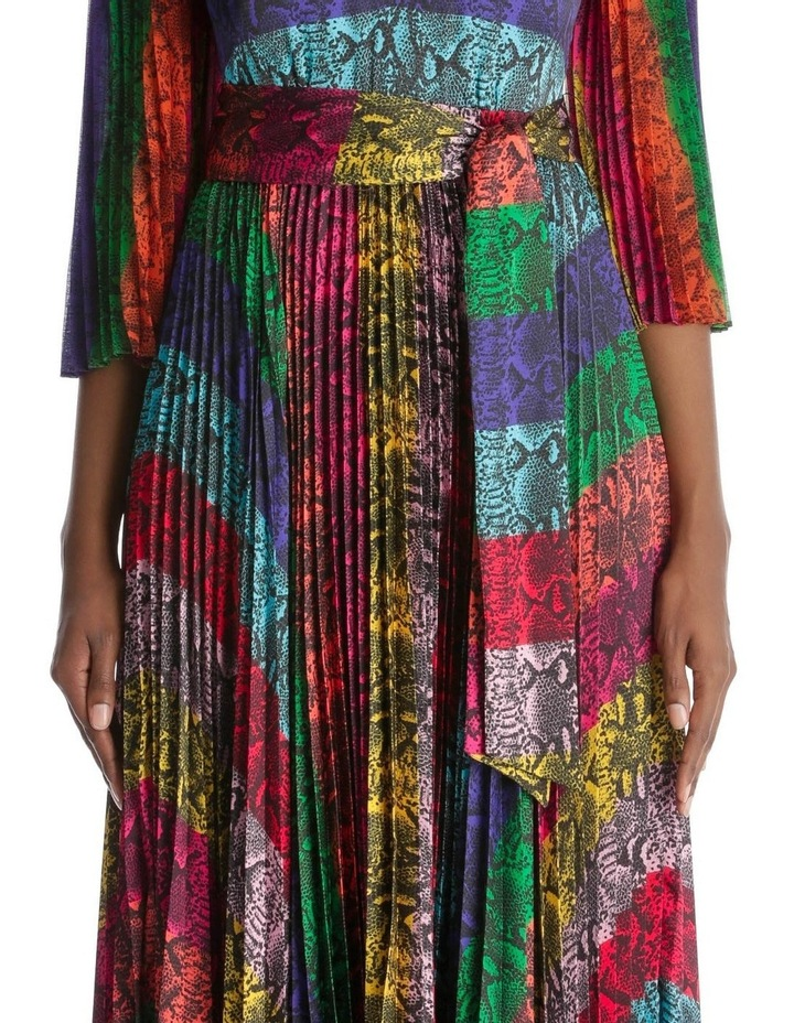 Multicolour Dress with Accordion Pleated Skirt and Sleeves image 4