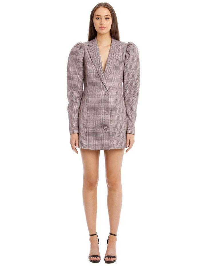 Carol Puffed-Sleeve Check Mini Dress image 1