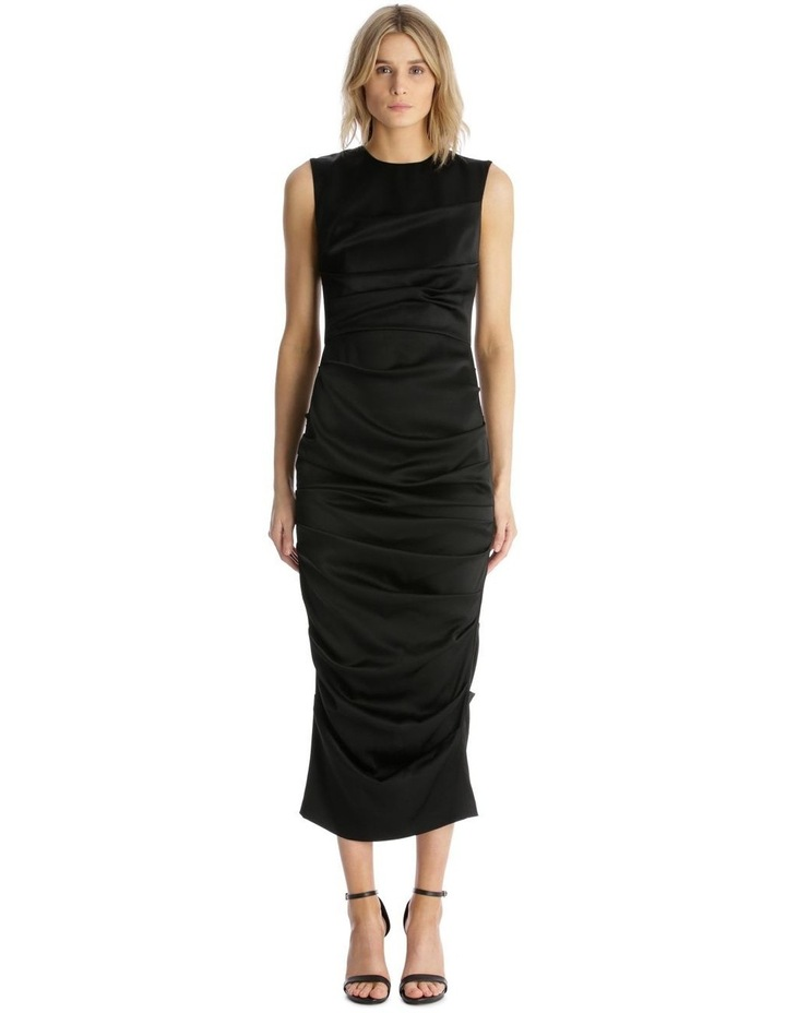 Satin Crew Ruched Dress image 1