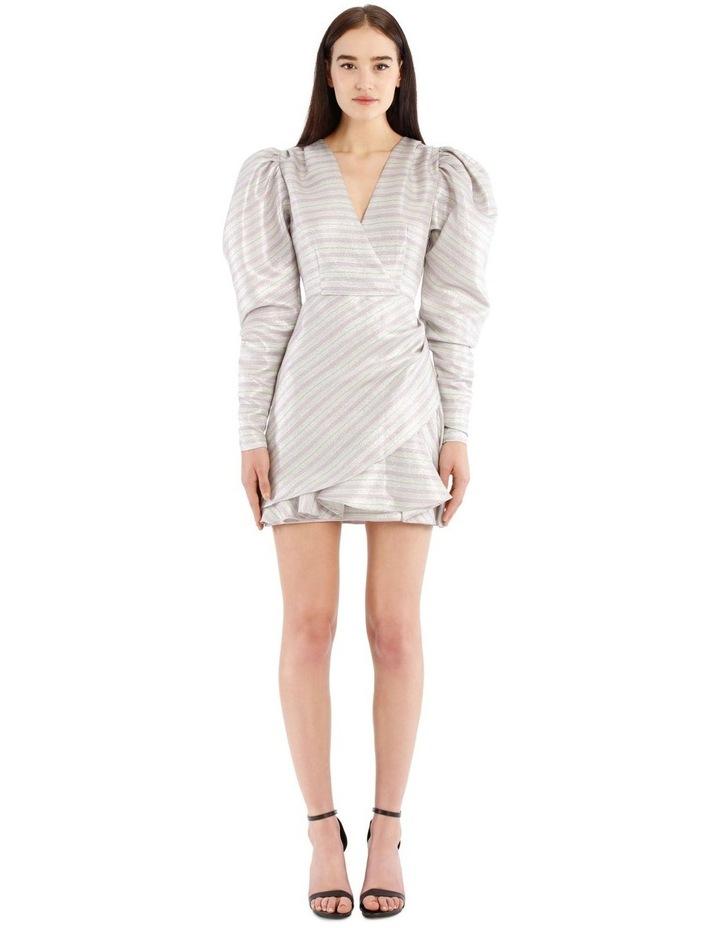 Metallic Puffed-Sleeve Mini Dress image 1