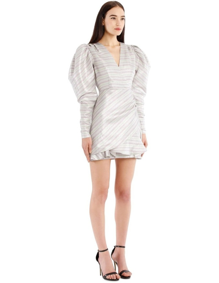 Metallic Puffed-Sleeve Mini Dress image 2