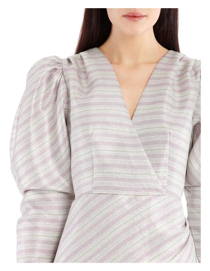 Metallic Puffed-Sleeve Mini Dress image 4