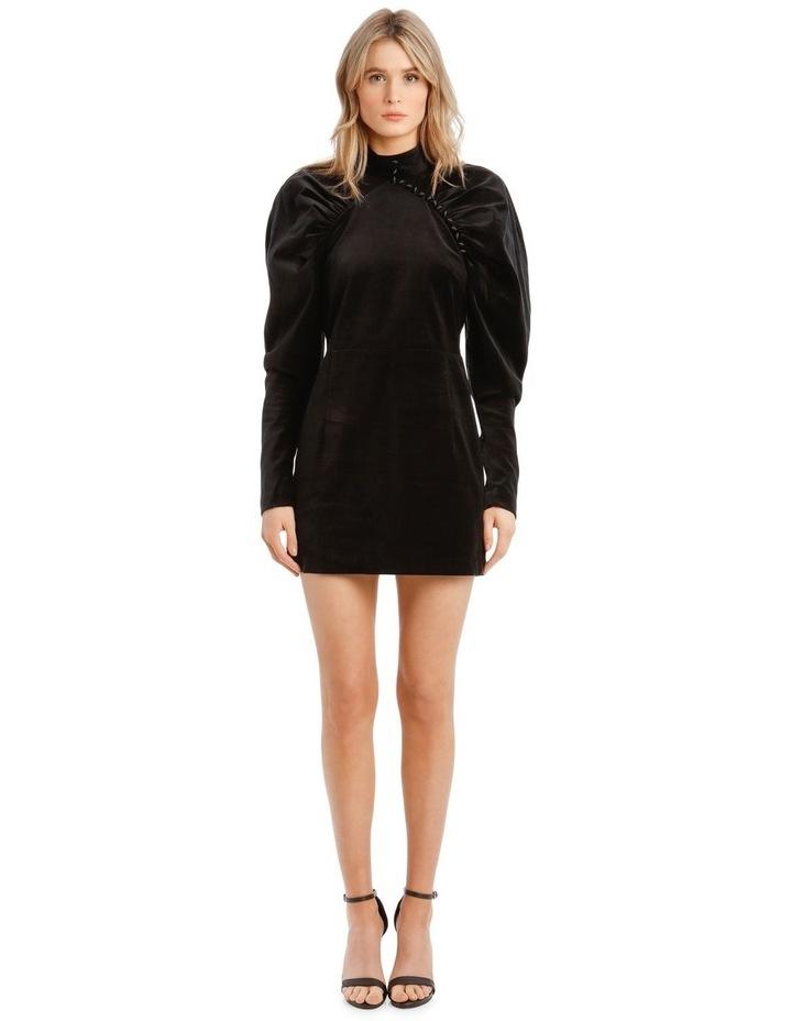 Puffed Long-Sleeve Velvet Mini Dress image 1