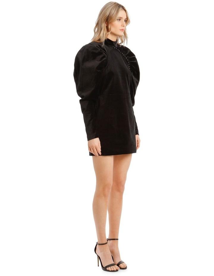 Puffed Long-Sleeve Velvet Mini Dress image 2