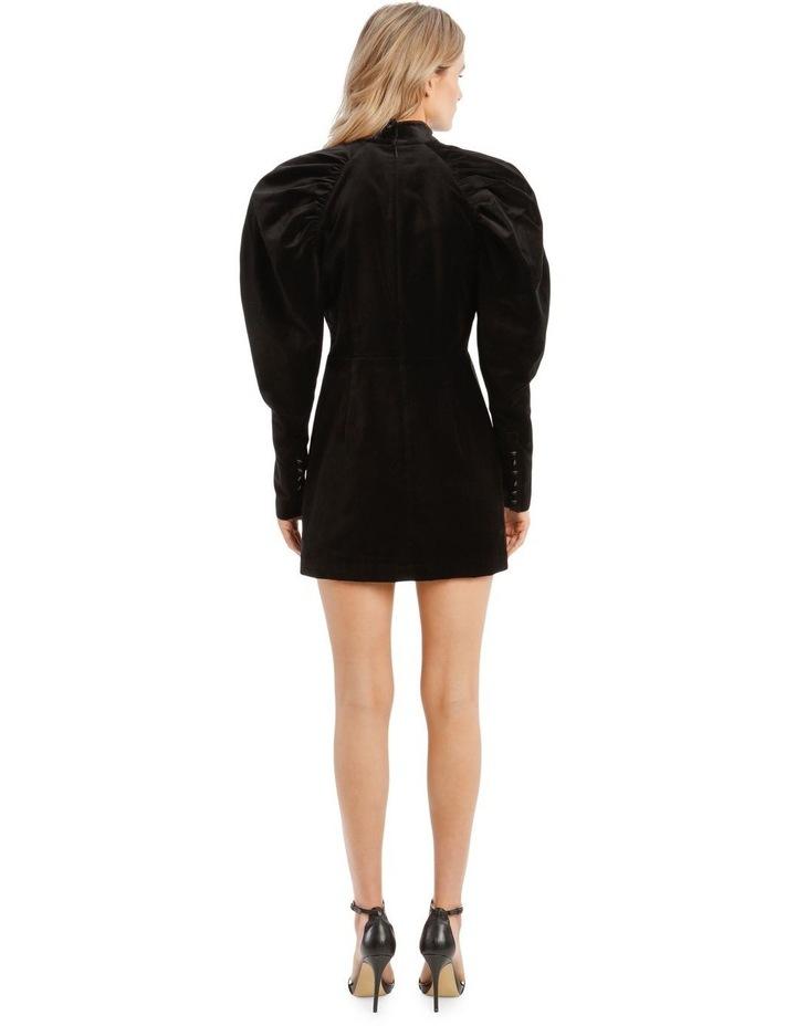 Puffed Long-Sleeve Velvet Mini Dress image 3