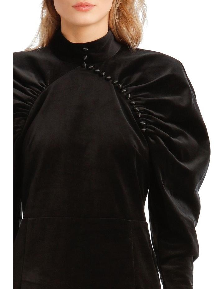 Puffed Long-Sleeve Velvet Mini Dress image 4