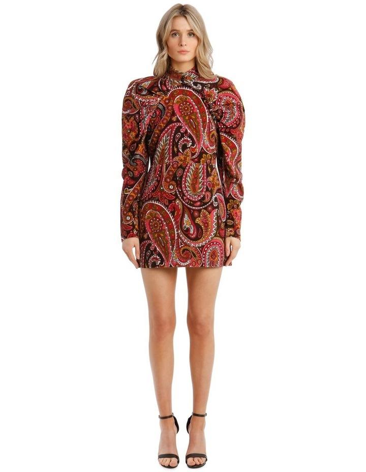 Paisley Velvet Puffed-Sleeve Mini Dress image 1
