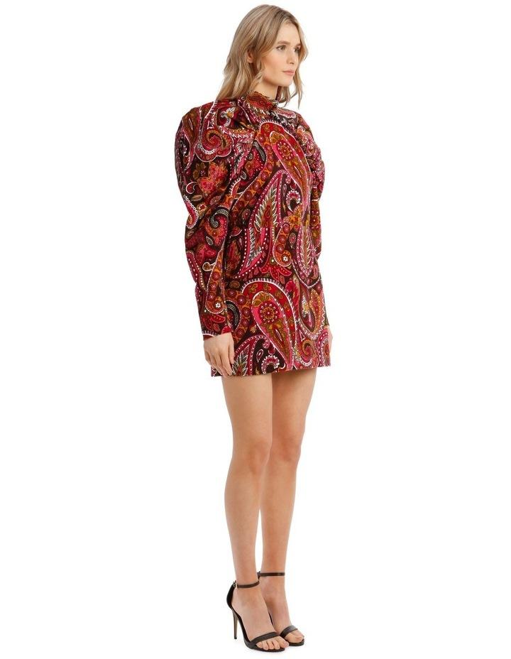 Paisley Velvet Puffed-Sleeve Mini Dress image 2