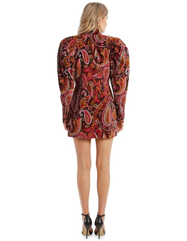 Paisley Velvet Puffed-Sleeve Mini Dress image 3