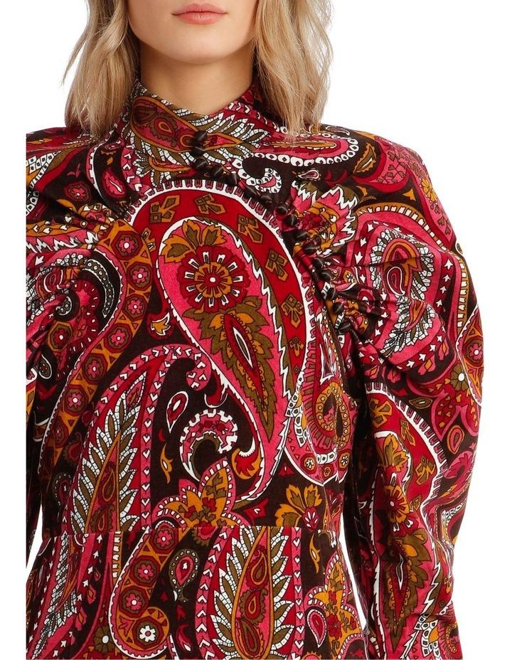 Paisley Velvet Puffed-Sleeve Mini Dress image 4