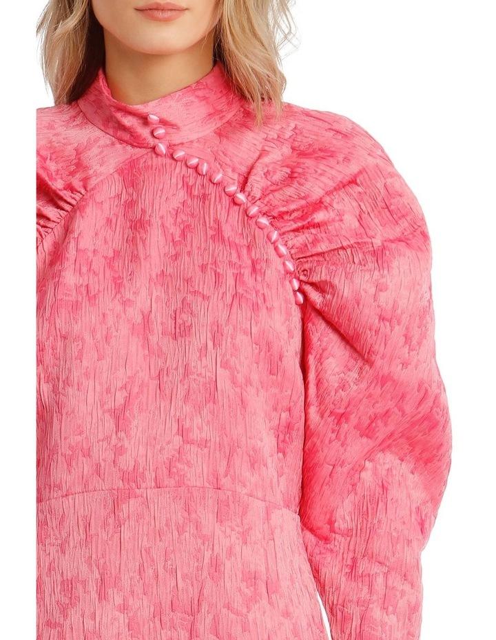 Pink Metallica Puffed-Sleeve Mini Dress image 4
