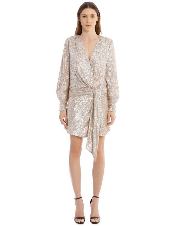 Sequin-Embellished Drape-Front Mini Dress image 1