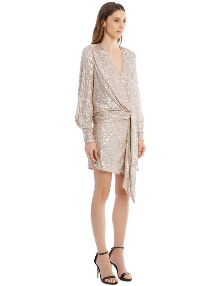 Sequin-Embellished Drape-Front Mini Dress image 2