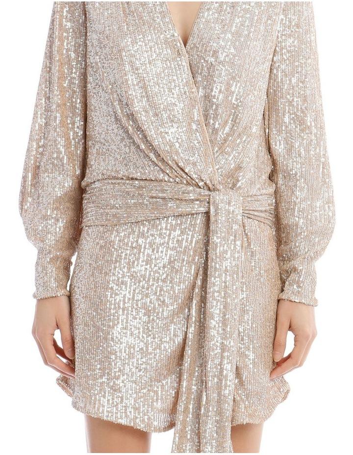 Sequin-Embellished Drape-Front Mini Dress image 4