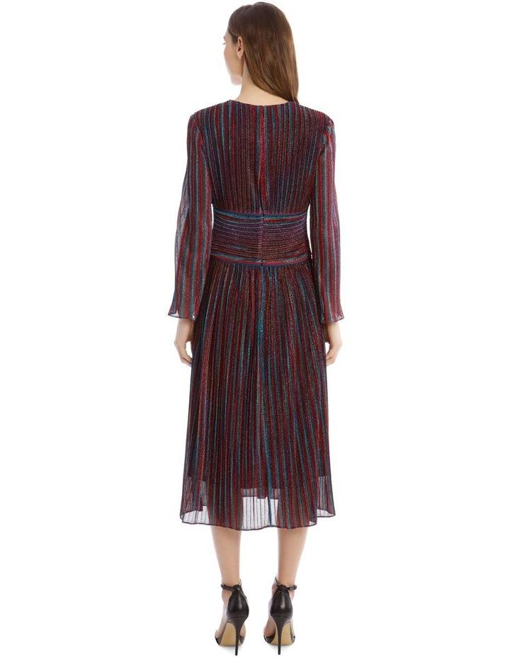 Rainbow Pleats Deep V-Neck Midi Dress image 3