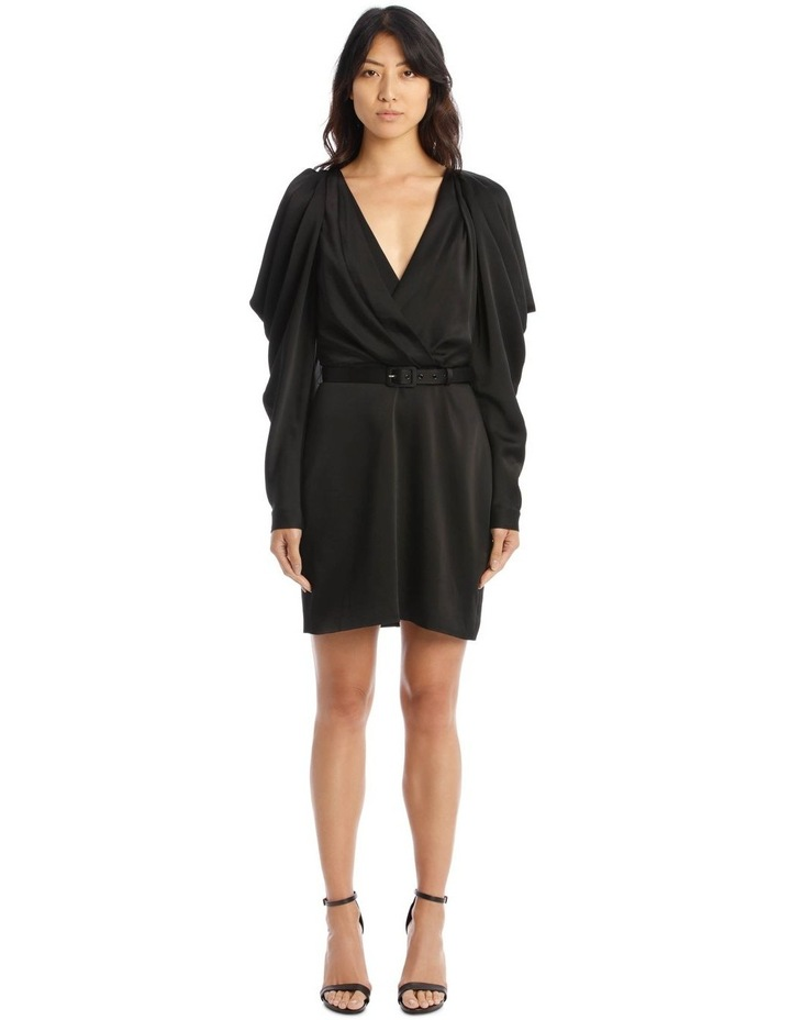 Classic Belted Mini Dress with Pleated Sleeves image 1