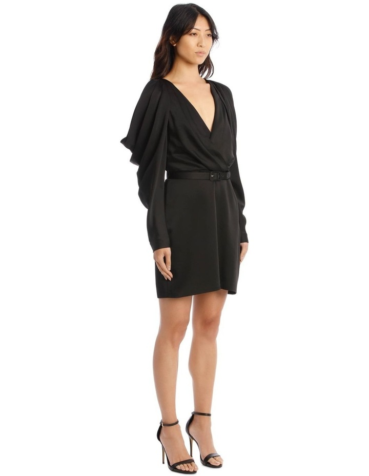 Classic Belted Mini Dress with Pleated Sleeves image 2