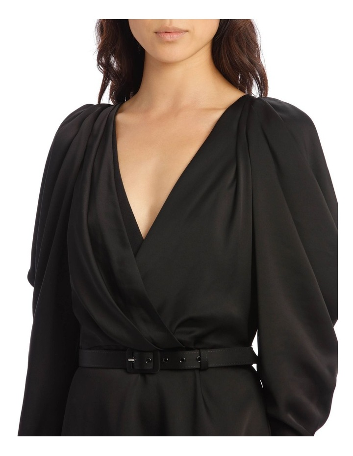 Classic Belted Mini Dress with Pleated Sleeves image 4