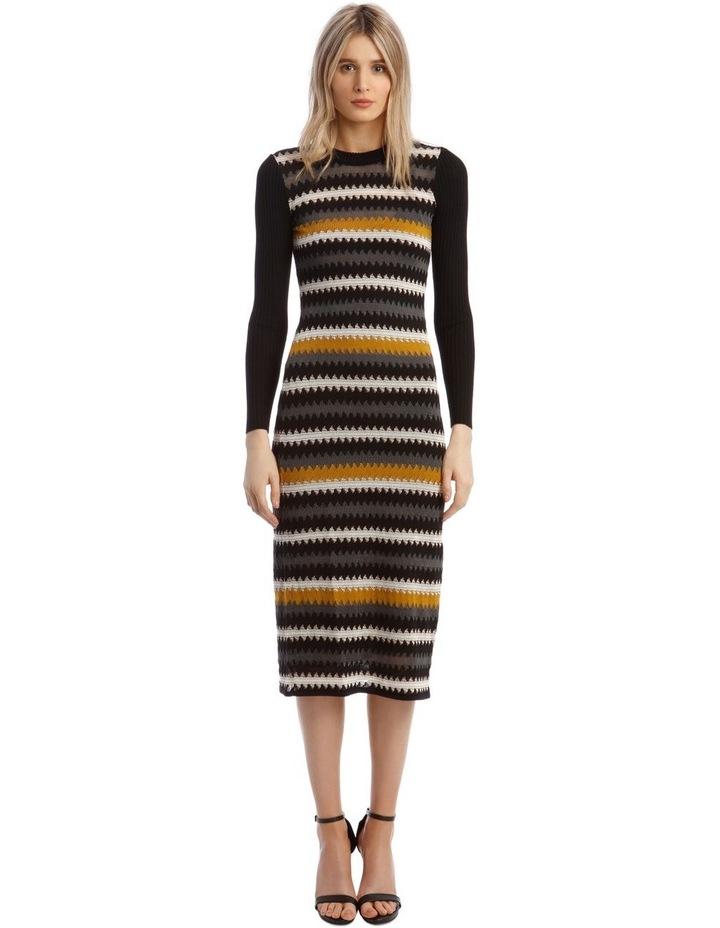 Long-Sleeve Knitted Midi Dress image 1