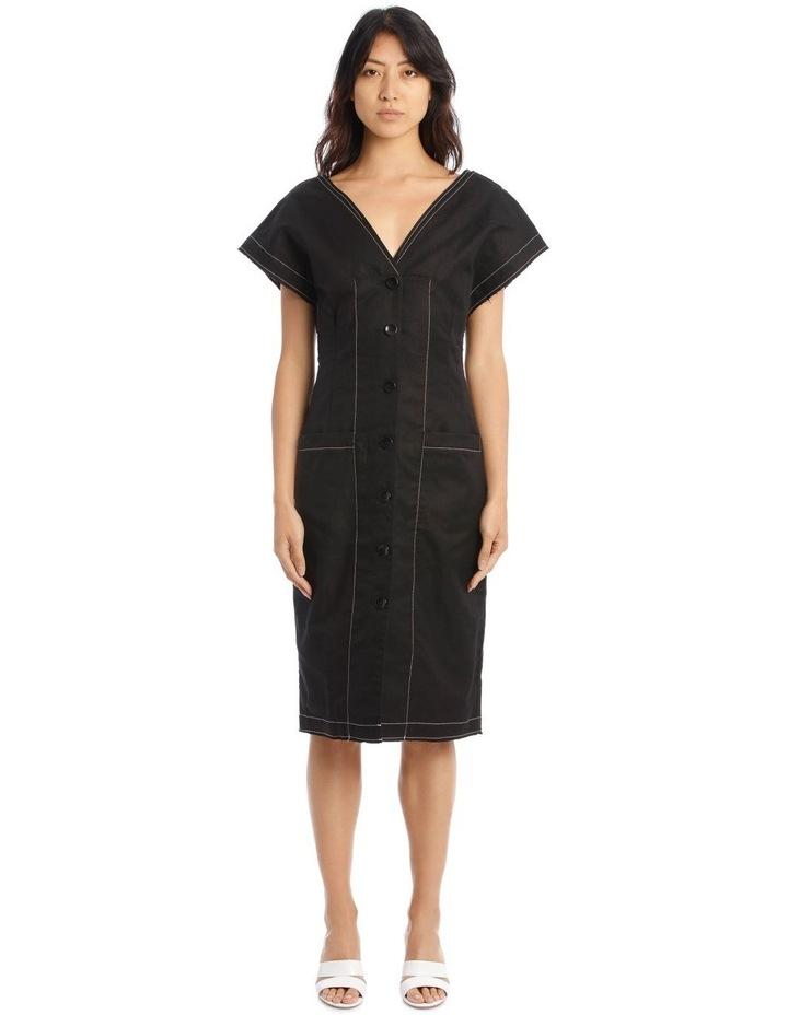 Contrast Button-Front Dress image 1