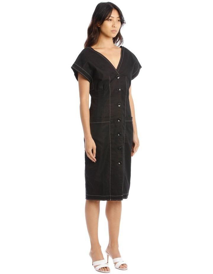 Contrast Button-Front Dress image 2