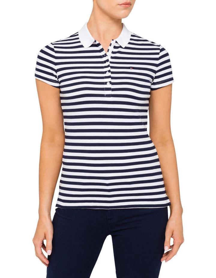 New Chiara Cotton Pique Stripe Polo image 1