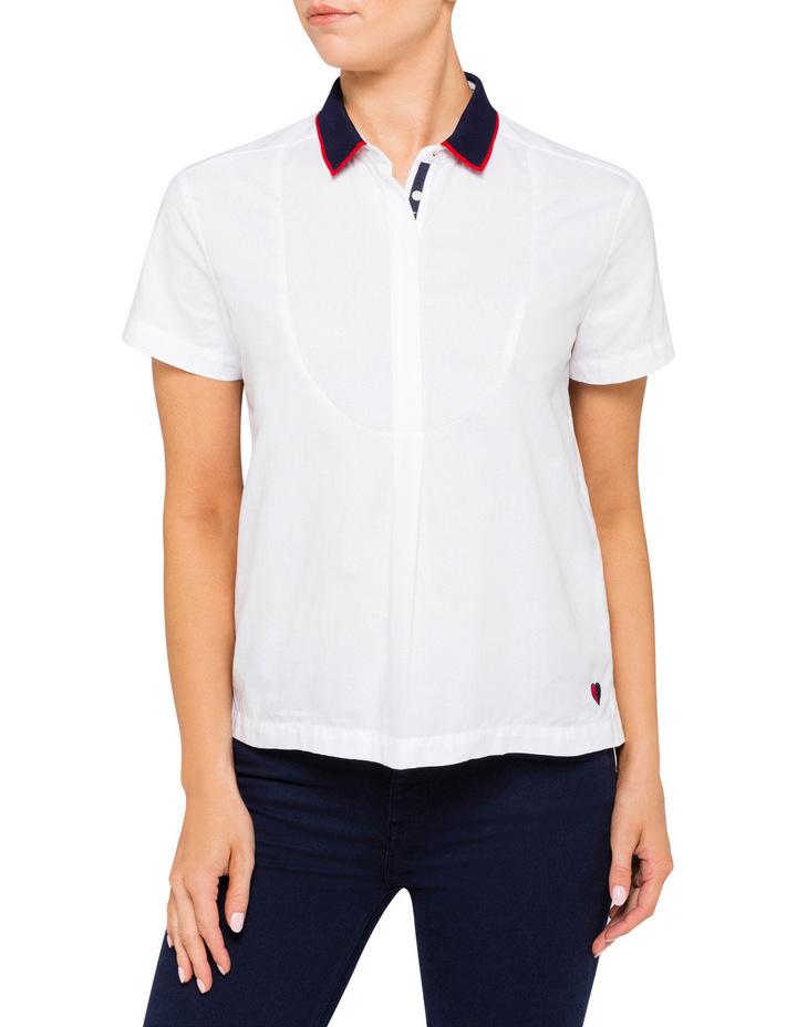 5bf360d3f6b Arwenne Rib Collar Short Sleeve Shirt image 1