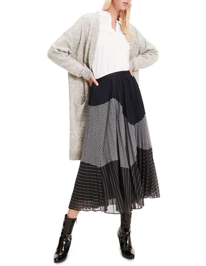 Pleated Contrast Pattern Midi Skirt image 1