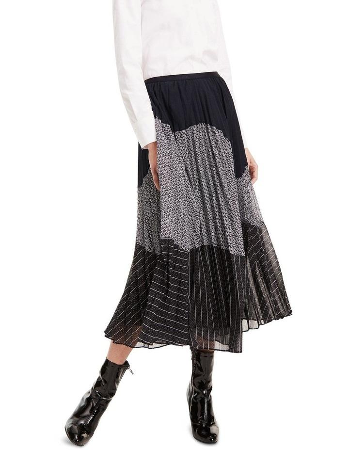 Pleated Contrast Pattern Midi Skirt image 2