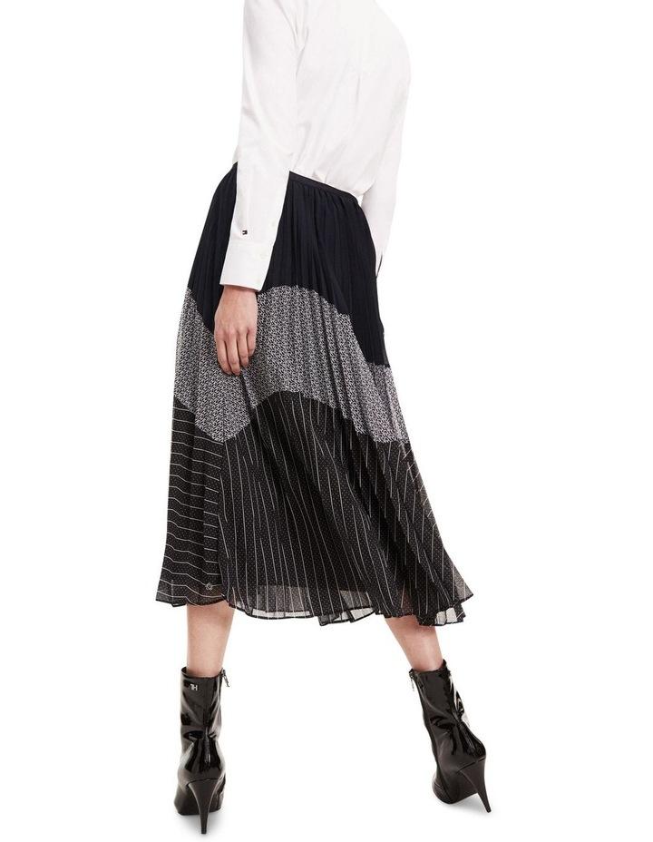 Pleated Contrast Pattern Midi Skirt image 3