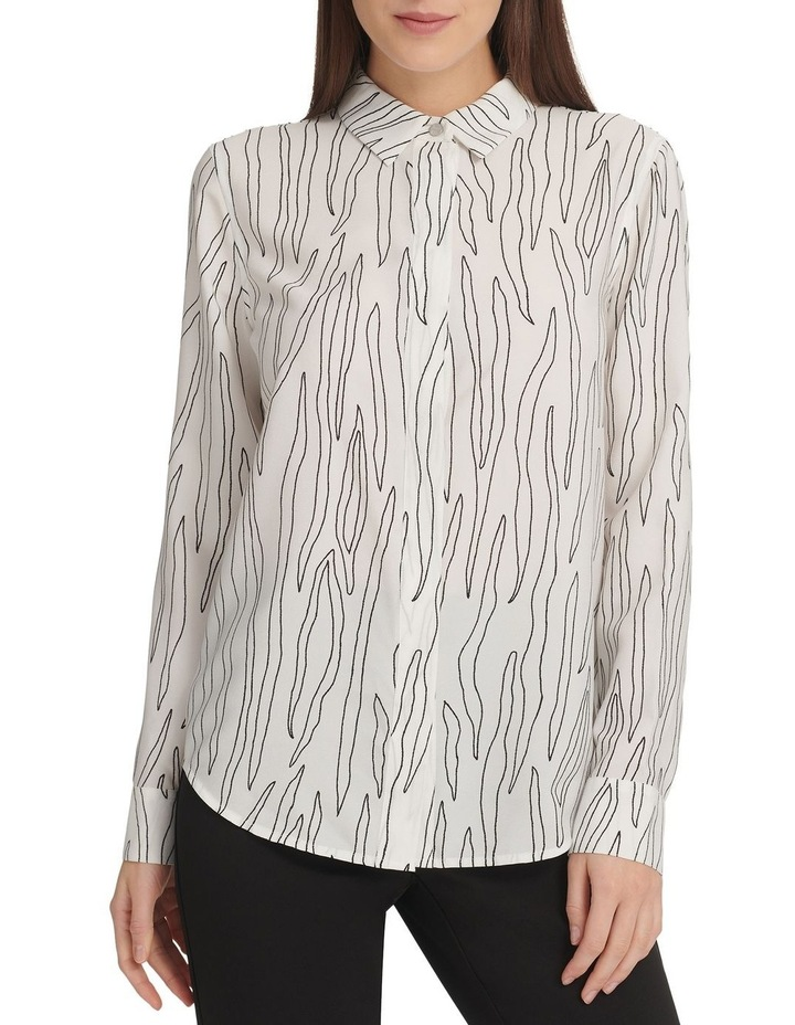 Printed Long Sleeve Btn Thru Top With Hidden Placket image 1