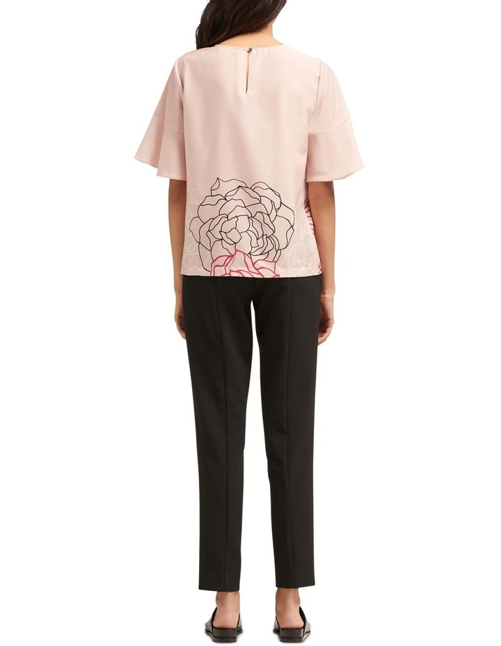 Printed Crew Neck Top With Draped Sleeves image 2