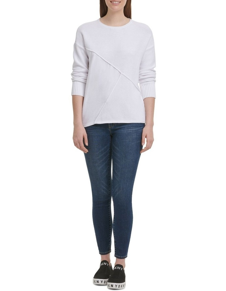Long Sleeve Wide Neck Pullover With Combo Fabric image 1