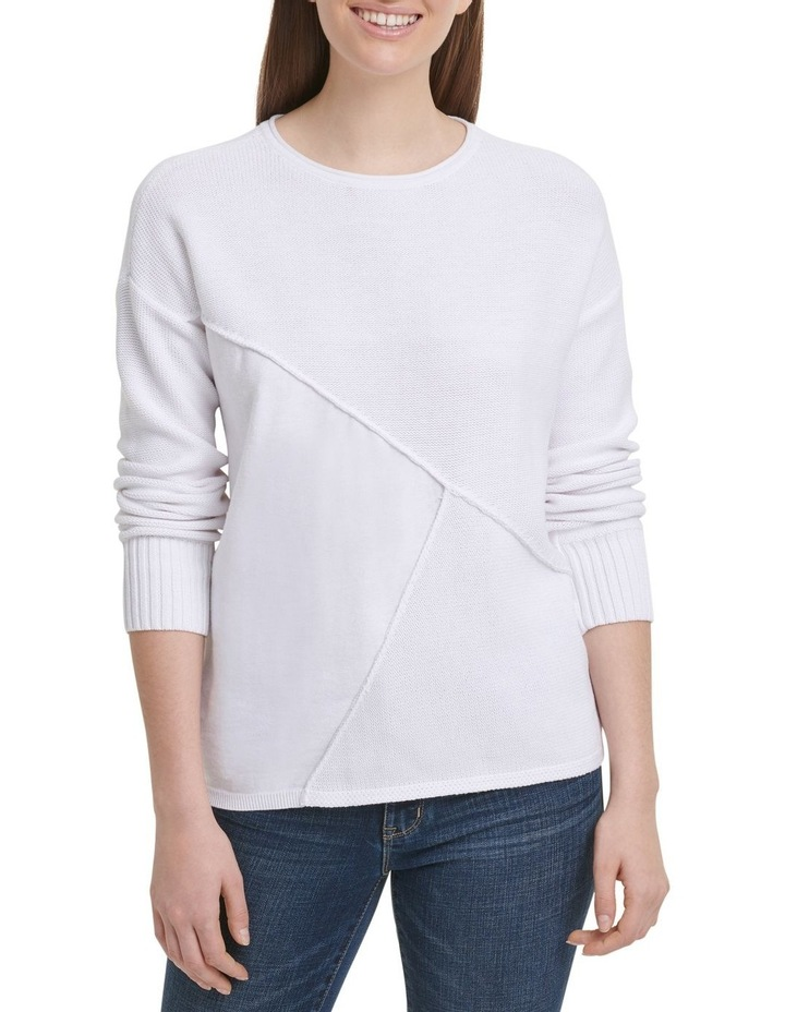 Long Sleeve Wide Neck Pullover With Combo Fabric image 2