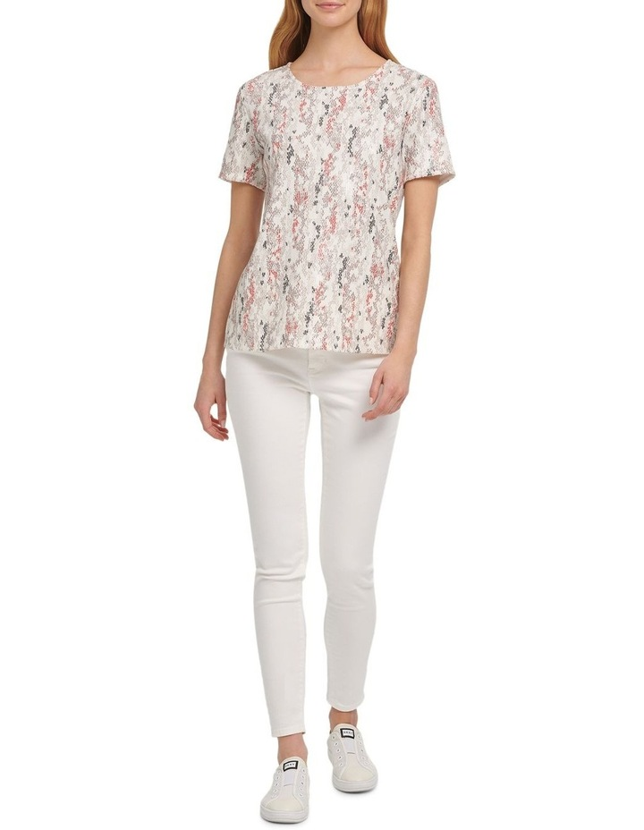 Foundation- Printed Short Sleeve Crew Neck Sequin Top image 1