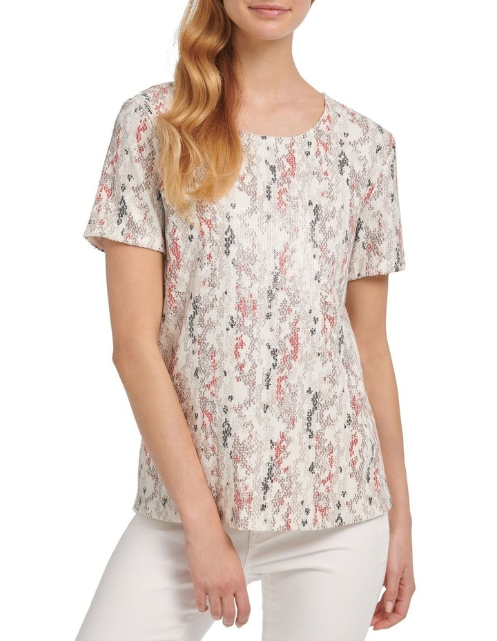 Foundation- Printed Short Sleeve Crew Neck Sequin Top image 2