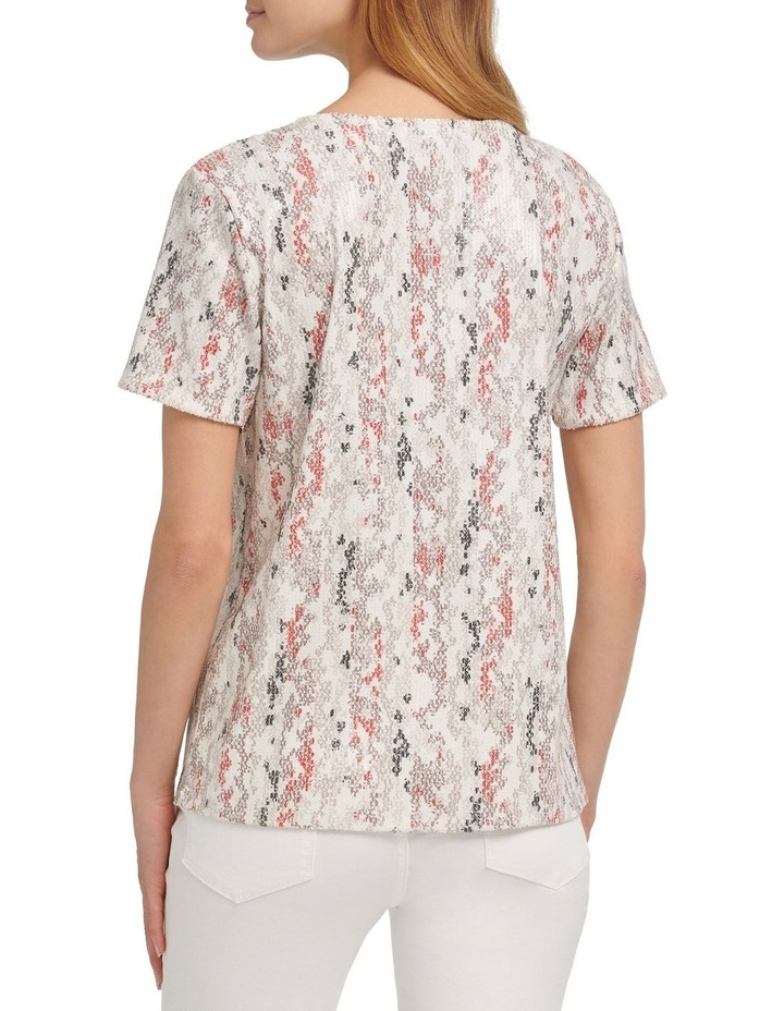 Foundation- Printed Short Sleeve Crew Neck Sequin Top image 3