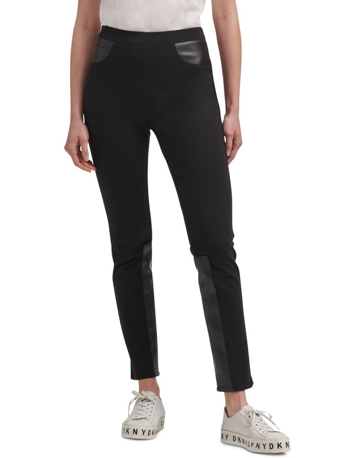 Foundation- Pull On Skinny Pant With Elastic Wb & Faux Leather Trims image 1