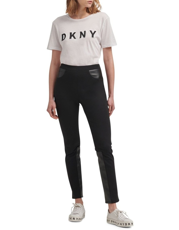 Foundation- Pull On Skinny Pant With Elastic Wb & Faux Leather Trims image 2