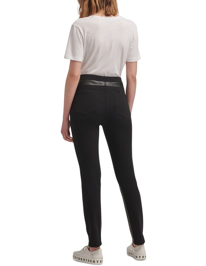 Foundation- Pull On Skinny Pant With Elastic Wb & Faux Leather Trims image 3