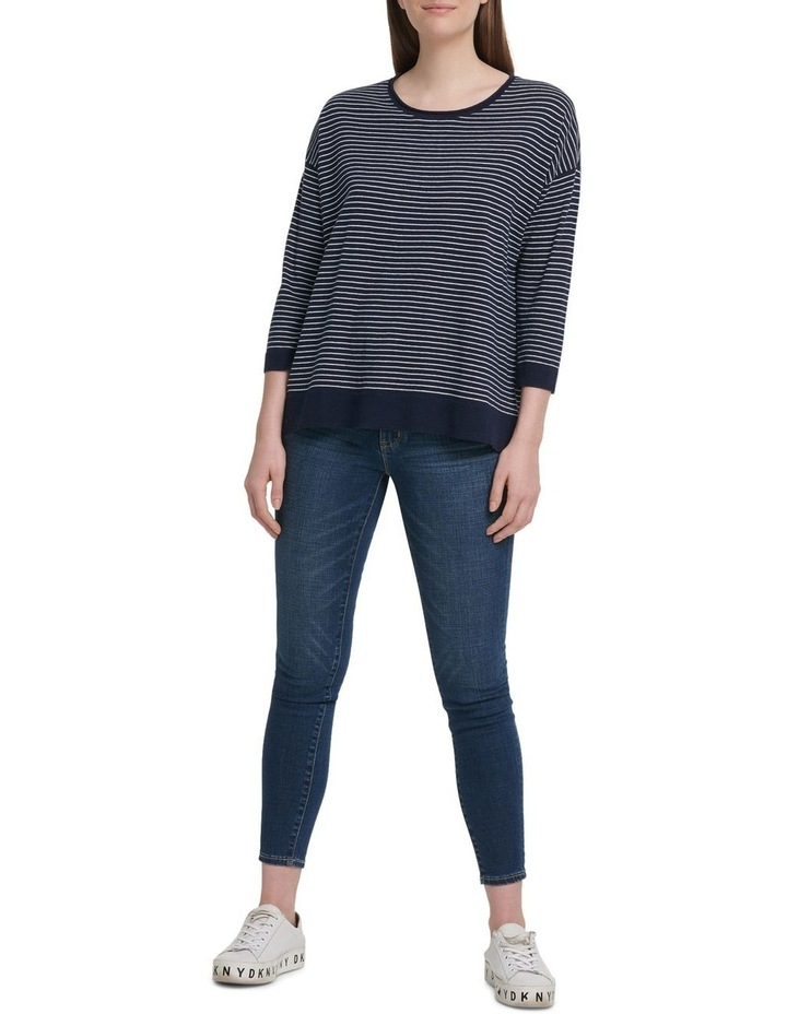 Long Sleeve Crew Neck Stripe Pullover With Bell Sleeves image 1