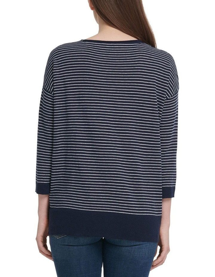 Long Sleeve Crew Neck Stripe Pullover With Bell Sleeves image 3