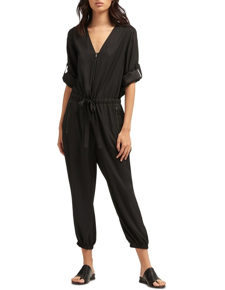 Roll Tab Sleeve Jumpsuit With Front Zip & Tie Front image 1