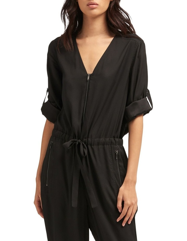 Roll Tab Sleeve Jumpsuit With Front Zip & Tie Front image 2