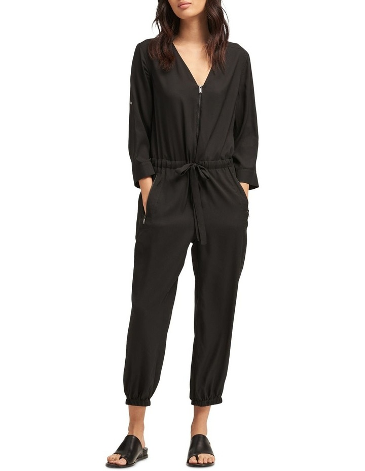 Roll Tab Sleeve Jumpsuit With Front Zip & Tie Front image 3